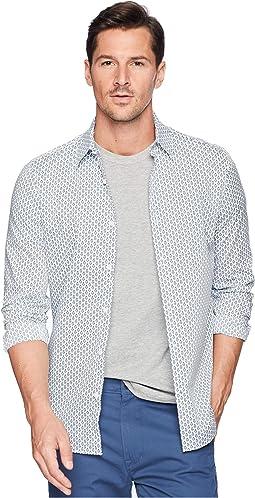 Slim Fit Dot Print Stretch Shirt