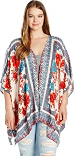 Angie Women's Plus Size Printed Kimono