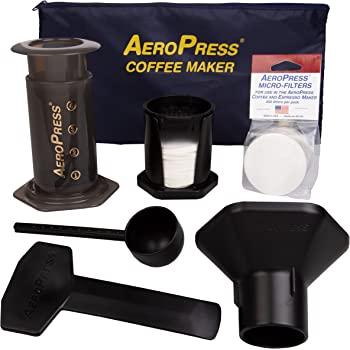 AeroPress Coffee and Espresso Maker with Tote Bag - Quickly Makes Delicious Coffee Without Bitterness - 1 to 3 Cups Per Press