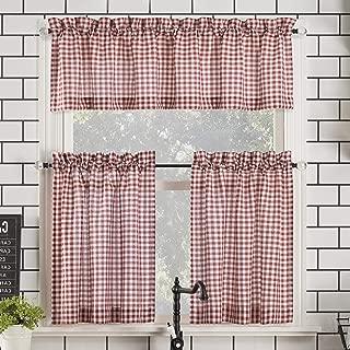 No. 918 Parkham Farmhouse Plaid Semi-Sheer Rod Pocket Kitchen Curtain Valance and Tiers Set, 54