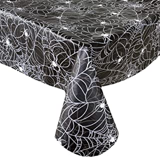 Newbridge Black Scary Spiders Web Halloween Vinyl Flannel Backed Tablecloth - Spooky Silver, White and Black Spiders Web H...