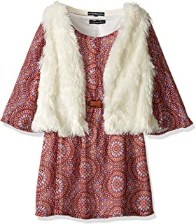 My Michelle Girls' Big Printed Peasant Dress with Belt and Fuzzy Soft, Vest