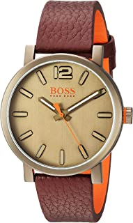 Men's Bilbao Stainless Steel Quartz Watch with Leather Strap, Brown, 20 (Model: 1550036)
