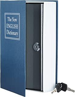Amazon Basics Coffre-fort en forme de livre - Système de verrouillage à clé, Bleu