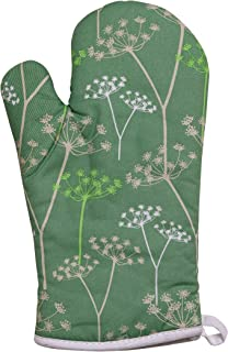 Premier Housewares Cow Parsley Single Oven Glove - Green