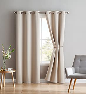 Nicole - 2 Premium Grommet Blackout Window Curtain Panels with Tiebacks - Solid Thermal Insulated Draperies - Total Size 76 Inch Wide (38 Each Panel) - 84 Inch Long (2 Panels 38 x 84, Ivory)