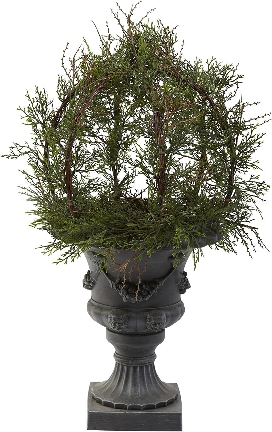Nearly Natural 4956 30-Inch Indoor Outdoor Pond Cypress Topiary with Urn, Green