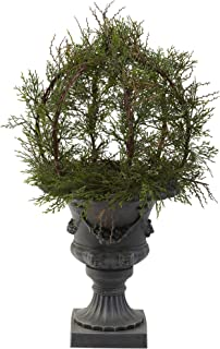 Nearly Natural 4956 30-Inch Indoor/Outdoor Pond Cypress Topiary with Urn, Green