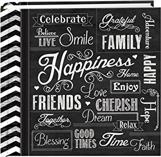 Pioneer Photo Albums EV-246CHLK/H 200-Pocket Chalkboard Printed Happiness Theme Photo Album for 4 by 6-Inch Prints