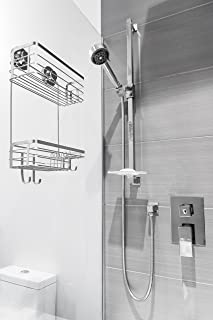 Vidan Home Solutions Shower Caddy | Stainless Steel, Wall Mounted with Suction Cups, rustproof, Modern, Spacious, Multi-Shelf Shower Organizer for Shampoo – Conditioner – Soap – Loofah – Razor