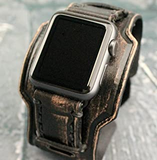 Distressed Black Apple Watch Cuff, Black Leather Apple Band, Leather Strap for Apple Watch, Black Apple Watch Strap