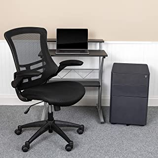 EMMA + OLIVER Work from Home Kit-Computer Desk, Ergonomic Office Chair, Mobile Filing Cabinet