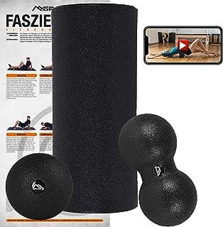 MSPORTS Wałek do masażu powięzi + piłka do masażu wraz z plakatem przedstawiającym ćwiczenia + aplikacja treningowa gratis...
