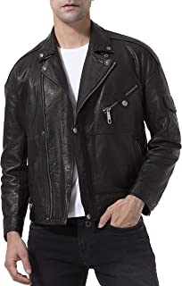 Tagoo Lambskin Leather Jacket for Men Black Motorcycle Biker Coat
