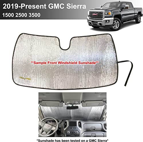 discount YelloPro Custom Fit Automotive sale Reflective popular Front Windshield Sunshade Accessories UV Reflector Sun Protection for 2019 2020 2021 2022 GMC Sierra Truck, Sierra 1500 2500 3500 SLT, AT4, Denali Pickup outlet sale