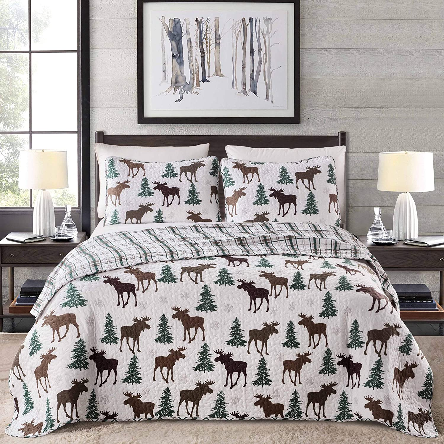 Great Bay Home Lodge Bedspread Full/Queen Size Quilt with 2 Shams. Cabin 3-Piece Reversible All Season Quilt Set