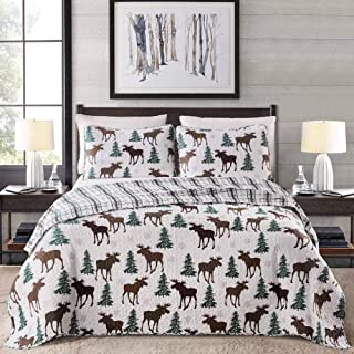 Great Bay Home Lodge Bedspread Twin Size Quilt with 1 Sham. Cabin 2- Piece Reversible All..