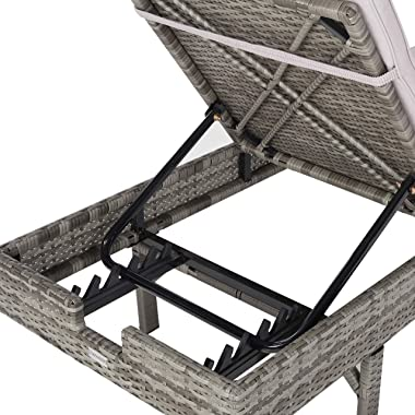 Safavieh PAT7501B Outdoor Collection Cam Grey Adjustable Cushion Sunlounger