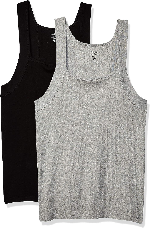 Calvin Omaha Mall Klein Men's Undershirts Cotton Tank Stretch Regular discount Cut Square