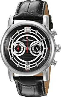Lucien Piccard Men's LP-14084-01 Stainless Steel Watch with Black Leather Band