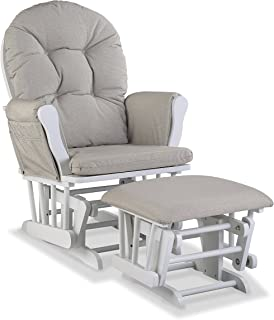 Storkcraft Premium Hoop Glider and Ottoman (White Base, Taupe Swirl Cushion) – Padded Cushions with Storage Pocket, Smooth...