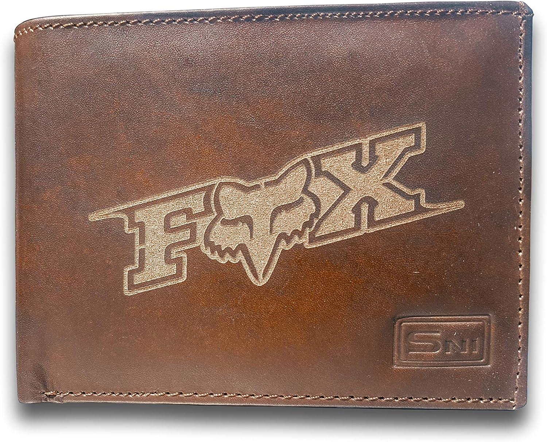 Fox Racing Logo Genuine Cowhide Leather Laser Engraved Engraving Slimfold Mens Large Capacity Luxury Wallet Purse Minimalist Sleek and Slim Brown Card Holder Organizer 14 Pockets