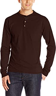 Men's Long-Sleeve Beefy Henley T-Shirt - Large - Dark...