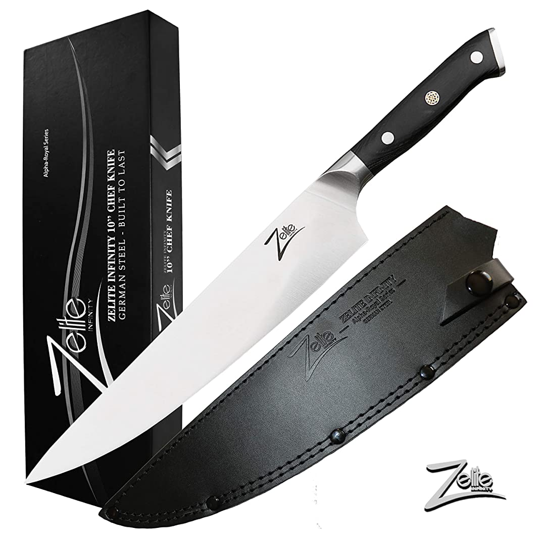 ZELITE INFINITY Chef Knife 10 inch   Alpha-Royal German Series   German High Carbon Stainless Steel   Pakkawood Handle   Full Tang   Leather Sheath