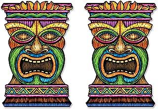 Beistle S54553AZ2, 2 Piece Jumbo Tiki Cutouts, 3', Multicolored