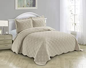 AZORE LINEN Solid Bedspread Quilt Coverlet Bedding Set Embossed with Seamless Geometric Diamond Diagonal Plaid Pattern - Jennifer (Beige, Full / Queen)