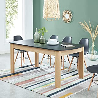 BAÏTA DAVIA180CH Table à Manger, Noir et Bois, 180cm