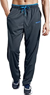 Men's Sweatpants with Zipper Pockets Open Bottom Athletic Pants for Jogging, Workout, Gym, Running, Training