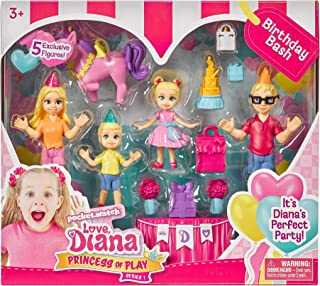 Far Out Toys Love, Diana, Kids Diana Show Princess of Play Birthday Bash 5-Figurine Set, More Accessories Included for Birthday Party Fun, Celebrate with The Whole Family, Recommended for Ages 3+