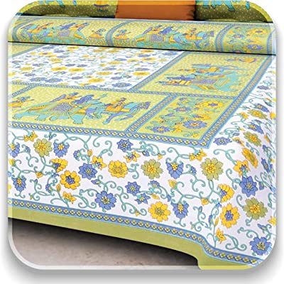 AAYESHA Cotton King Size Bed Bedsheet Cotton with 2 Zipper Pillow Cover - Floral and Animal Print