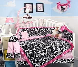 SoHo Baby Crib Bedding 10Pc Set, Black Pink