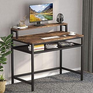 Tribesigns Bureau d'ordinateur avec étagère de rangement et support pour moniteur, station de travail industrielle pour bu...