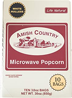 Amish Country Popcorn | Old Fashioned Microwave Popcorn | 10 Bags Lite Natural White Hulless | Old Fashioned, Non GMO, Gluten Free, Microwaveable and Kosher with Recipe Guide (10 Bags)