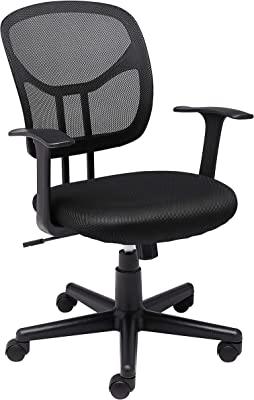 Amazon Basics Mesh, Mid-Back, Adjustable, Swivel Office Desk Chair with Armrests, Black