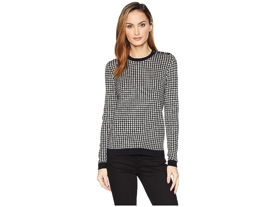 LAUREN Ralph Lauren Houndstooth Wool Sweater (Polo Black/Mascarpone Cream) Women