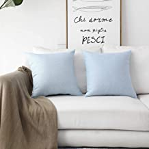 (46cm x 46cm, 2 Pack, Sky Blue) - HOME BRILLIANT Lined Linen Cushion Covers Set of 2 Decorative Throw Pillow Covers for Be...