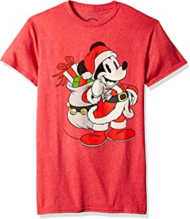 Men's Christmas Mickey Mouse Santa Red Graphic T-Shirt