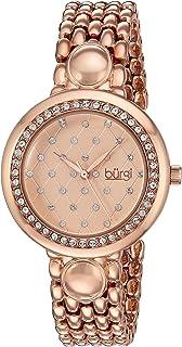 Burgi Women's Rose Gold Dial Stainless Steel Band Watch - BUR170RG