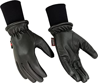Hugger Men's Winter Warm Water Resistant Leather Motorcycle, Driving, Police Glove with Long Sweater Knit Cuff