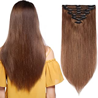 S-noilite 14inch 100% Real Human Hair Clip in Extension 8pcs Thickened Double Weft Hair Extension 120g Full Head Human Hai...