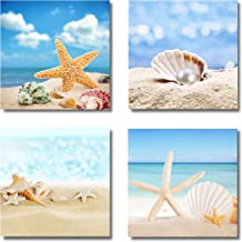 Paimuni Modern Seascape Canvas Prints 4 Panel Seaview Giclee Artwork Starfish Pearl Beach Seashell Wall Art Paintings for ...