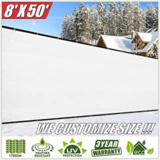 ColourTree 8' x 50' White Fence Privacy Screen Windscreen Cover Fabric Shade Tarp Netting Mesh Cloth - Commercial Grade 170 GSM - Heavy Duty - 3 Years Warranty - We Make Custom Size