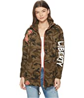 ROMEO & JULIET COUTURE - Embroidered Zip-Up Camo Jacket