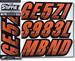 Stiffie Techtron Orange/Black 3 Alpha-Numeric Registration Identification Numbers Stickers Decals for Boats & Personal Watercraft
