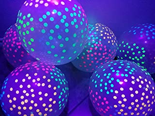 Blacklight Party Balloons - Clear Balloons with Mini Polka Dots That Glow in The Dark Under Black Light - 25 Pack