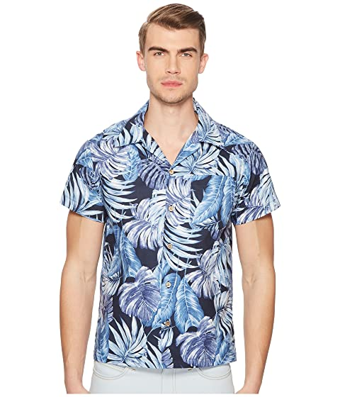 NAKED & FAMOUS Tropical Leaves Shirt, Navy